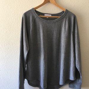 P.J. Salvage gray waffle knit long sleeve tee/top